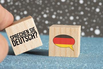 Deutsche Flagge und Frage Sprechen Sie deutsch