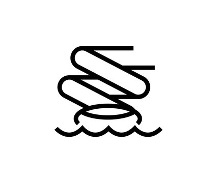 Water slide line icon