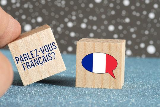 Flagge von Frankreich und Frage Sprechen Sie französisch
