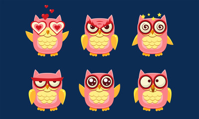Wall Mural - Owls Characters Set, Cute Birds with Various Emotions Vector Illustration