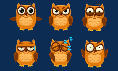 Wall Mural - Funny Owls Characters Set, Cute Brown Birds with Various Emotions Vector Illustration