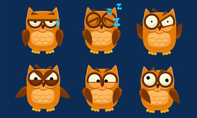Wall Mural - Funny Owls Characters Set, Cute Birds with Various Emotions Vector Illustration