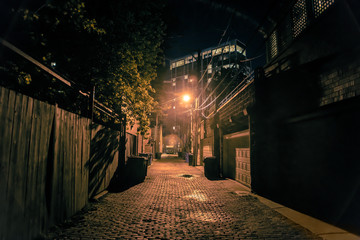 Fotomurales - Dark and scary vintage cobblestone brick city alley at night in Chicago