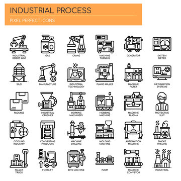 Industrial Process , Thin Line and Pixel Perfect Icons