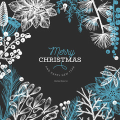 Christmas hand drawn vector greeting card template. Vintage style illustration on chalk board