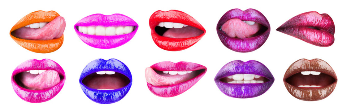 Colored lip, lipstick or lipgloss, sexy. Collection open mouth. Bright female lips collection isolated on white background. Set of womens lips with glossy lipsticks. Multicolored lip, tongue sexy