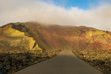 road running among volcanoes in Timanfaya National Park, Lanzarote