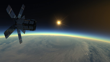 Tropical cyclone observed by the meteorological satellite - 3D illustration