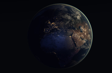 Realistic image of the earth during the night, as seen from space-Europe