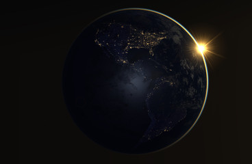 Realistic image of the earth during the night, as seen from space-South and North America