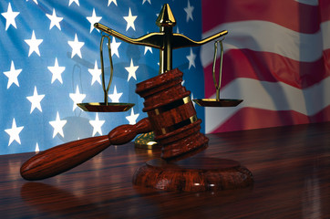Judge Gavel, Scale Of Justice With American flag-3d illustration