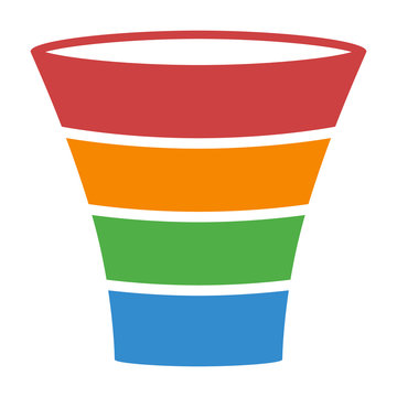 Sales lead funnel process colorful diagram flat vector icon for business apps and websites