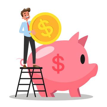 Businessman put money inside the piggy bank