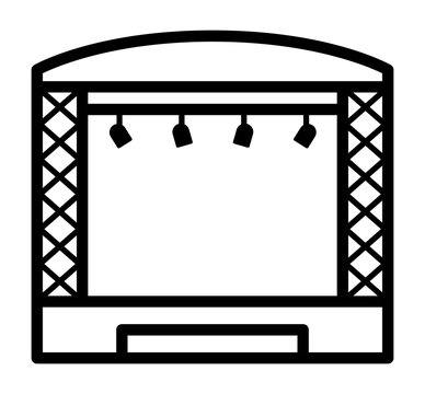 Theatrical musical concert stage with lights line art vector icon for music apps and websites