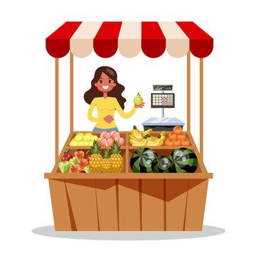 Happy farmer sell fresh organic harvest from farm