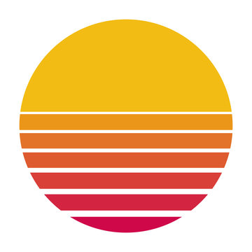 Retro sun from the 80s flat vector color icon for apps and print