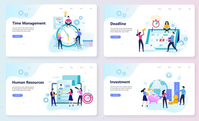 Business and finance web banner concept set