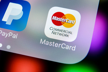 Sankt-Petersburg, Russia, March 21, 2018: MasterCard application icon on Apple iPhone X screen close-up. Master Card icon. MasterCard online application. Social media app