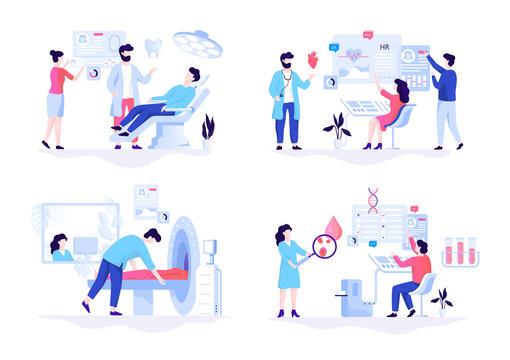 Medicine web banner concept set. Blood test and dentist