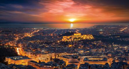 Fototapete - Die Skyline von Athen, Griechenland, am Abend bei Sonnenuntergang mit der Akropolis und Parthenon Tempel im Zentrum