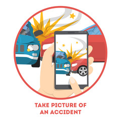 Photo of the car accident on the mobile phone