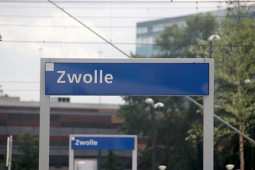 August 2019, Zwolle, the Netherlands - Public transportation around the station area