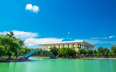 Oliy Majlis, Parliament building in Alisher Navoi National Park, Tashkent, Uzbekistan.
