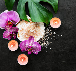Poster de jardin Nature Natural spa ingredients with orchid flowers