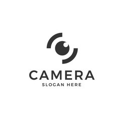 Eye Camera logo vector in isolated white background
