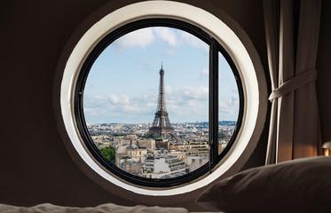 Foto op Plexiglas Eiffeltoren Looking through window, Eiffel tower famous landmark in Paris, France. Vacation in Europe