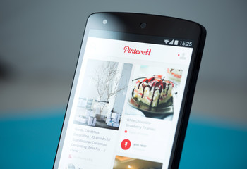 Kiev, Ukraine - September 22, 2014: Close-up shot of Google Nexus 5 smartphone with the Pinterest website on a screen.