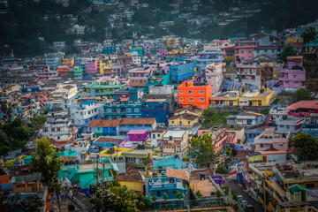 Colourful houses in a village near Ooty at Evening