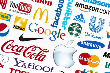 Kiev, Ukraine - February 21, 2012: A logotype collection of well-known world brand's printed on paper. Include Google, McDonald's, Nike, Coca-Cola, Facebook, Apple, Yahoo,  YouTube, and other logos.