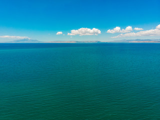Aerial view of Lake Van the largest lake in Turkey, lies in the far east of that country in the provinces of Van and Bitlis. Crystal and clear waters.