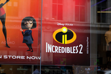LONDON, UK - JULY 31th 2018: Movie poster for the Incredibles 2 film made by disney and Pixar