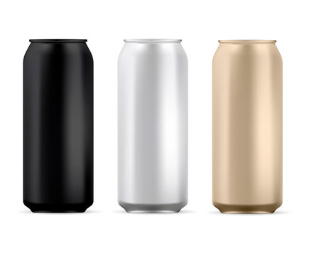 Aluminum Can Blank. Round Soda or Juice Tin Isolated Mockup. Silver, Black and Gold Aluminium Metal Can Template Pack. Cold Cola or Water Stainless Steel Cylinder Tin Mock Up for Advertising