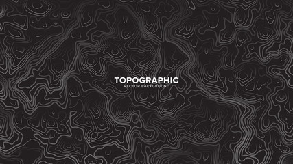 Topographic Contour Map Dark Black And White Vector Abstract Background. Rendered Wavy Lines Ultra Wallpaper. Sci-Fi Futuristic Technology Concept Line Art Picture