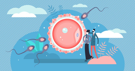 Fertilization vector illustration. Flat tiny baby planning persons concept.