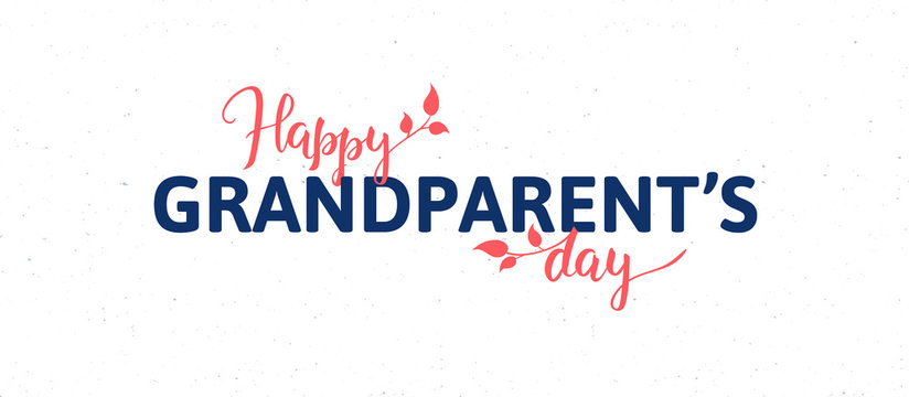 Vector flat grandparents day holiday banner template. Black and red text with flowers isolated on white background. Design for poster, invitation, card, greeting, congratulation.