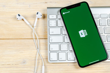 Sankt-Petersburg, Russia, June 2, 2018: Microsoft Excel application icon on Apple iPhone X screen close-up. Microsoft office Excel app icon. Microsoft office on mobile phone. Social media