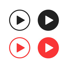 Vector isolated play buttons or icon. Multimedia signs. Play music buttons in black and red colors.