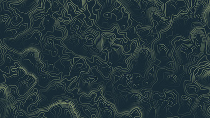 Topographic Contour Map Psychedelic Green Abstract Background. Ultra High Quality Wallpaper