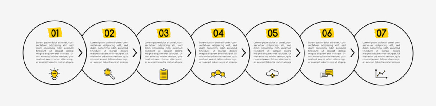 Circle infograph with 7 steps. Vector
