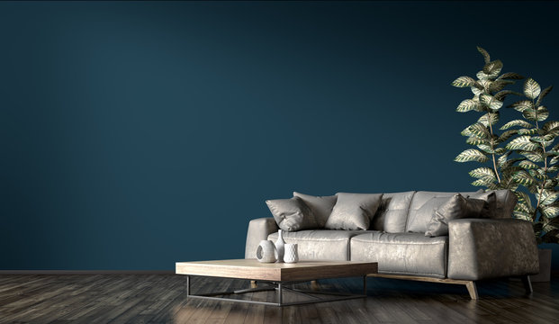 Interior of modern living room with gray sofa 3d rendering