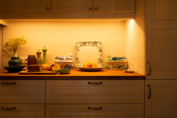 Rustic kitchen shelves with breakfast
