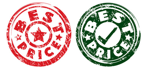 Best Price stamps in red and dark green colors. Grunge texture. Vector illustration.
