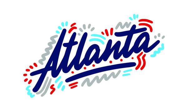 Atlanta handwritten city name.Modern Calligraphy Hand Lettering for Printing,background ,logo, for posters, invitations, cards, etc. Typography vector.