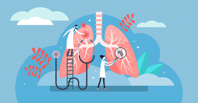 Pulmonology vector illustration. Flat tiny lungs healthcare persons concept