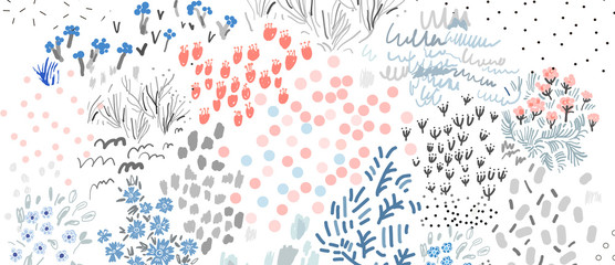Gentle floral background. Artistic header with flowers and leaves. Vector