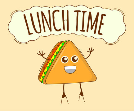Lunch Time Banner, Tea Icon. Cute Character, Concept Label. Cartoon Vector Illustration